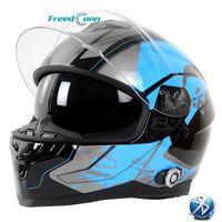 Helmets de moto Freedconn BM22 DOT FOND FACE BLUTOOTH SANS CASQUE 6 RADERS 1000M GROUPE INTERCOM SUPPORT Radio FM