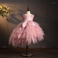 Girl's Dresses Elegant Swan Crystal Tulle Flower Girl Dress For Wedding Kids Pageant Evening Gown Birthday Party Feather Lace Princess1