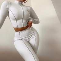 Women's Two Piece Pants 2021 Solid Two-piece Ribbed Sports Suits Women Tracksuits Top And Sets Casual Streetwear Long Sleeve Crop Tops+Leggi