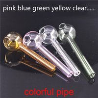 L 10CM Mini Colorful Pyrex Glass Oil Burner Pipe glass oil tube nails smoking pipes tobacco herb glass Water Hand Pipes Smoking Accessories
