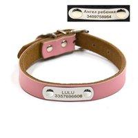 Colares Colares Lashes Gravura Grátis ID Collar Nome Número de Couro Genuíno Tag Pequeno e Grande Pet DIY Fornecimento Pessoal