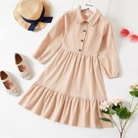 Girl's Dresses 2021 Kid Girl Lapel Collar Button Design Long-sleeve Solid Tiered Dress