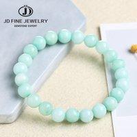 JD Doğal Gem Mavi Chalcedony Aquamarine Angelite Amazonit Renk Strand Boncuk Taş Bilezikler Pürüzsüz Don Yuvarlak Gevşek Boncuk