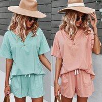 Women's T-Shirt Women Suit 2021 Summer Short Sleeve Office Lady Set Casual