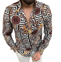 Plus Sizes 3XL Men's Casual Vintage Shirts Gold Cardigan Printed Long Sleeve Slim Summer Hawaiian Skinny Fit Various Pattern Man Clothes Blouse