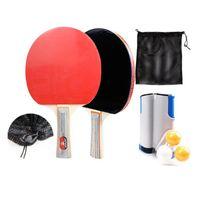 쌍 탁구 라켓 세트 무작위 공 및 그물 랙 Raquets와 전문 교육 박쥐
