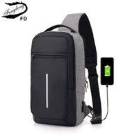 Sacs de taille Fengdong Homme Homme Travel Sac à poitrine de réflexion Backbag Backbag Hommes Une épaule USB Étanche Étanche Petite Messenger Bagpack