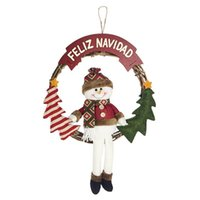 Decorative Flowers & Wreaths Christmas Wreath Snowman Doll Xmas Ornament Front Door Window Wall Pendant Festival Party Decoration