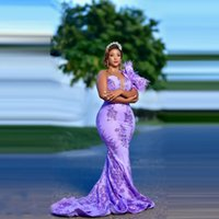 Charming Purple Plus Size Prom Dresses One Shoulder Sequins Lace With Train Feathers Long Women Aso Ebi Evening Gowns