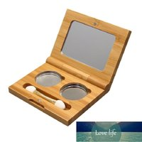 Packing Bottles Eco Friendly Empty Eyeshadow Case 2 Colors Cosmetic Container Bamboo Palette Packaging with Mirror