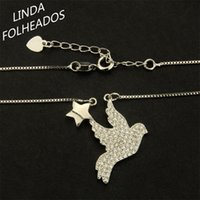 Pendant Necklaces Unique Bird With Star Zircon Silver Color Angle Pendulum Necklace Jewelry For Women Anniversary Gift