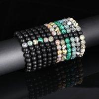 8MM Natural Stone Bead Bracelet Women and Men Round Beads Elastic Ribbon Stretch Bracelets Vintage Jewelry