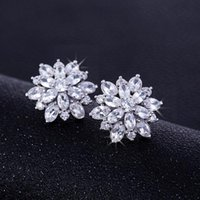 Stud Cubic Zirconia Multi-layered Rose Flower Earrings Fashion Women Jewelry White Gold Color CZ Crystal