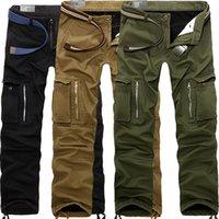 Baldauren Зимние мужские брюки с бархатом утолщенные многокарманские комбинезоны случайные военные тактические свободные брюки хлопок