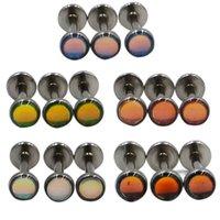 2pc plat CZ GEM Opal Lip Labret Stud Piercing Internall Thread Ear Tragus Cartilage Helix Boucle d'oreille Boucle d'oreille Bijoux 842 T2