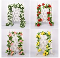 2,2m Konstgjorda blommor Vine Fake Silk Rose Ivy Flower For Wedding Decoration Vines Hängande Garland Heminredning