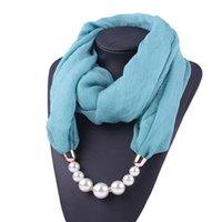 Womens Big Imitation Pearl Collana Infinity Sciarpa Avvolgibile Bright Solid Color Summer Sunscreen Cover Cover Cover Gioielli Accessorio pendente