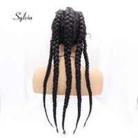 Sylvia Black Mixed Brown Synthetic Box Smooth Lace Front Wigs For Women Hair Cornrow 5 Flat