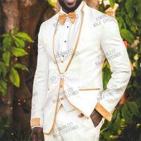 Noivo Branco Floral Impresso Casamento Smoking Mens Laranja Carrinho Golar Noivo Desgasro Formal Prom Homens Terno Arlometro Colete Calças Suits Bla
