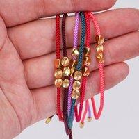Charm Bracelets Ethnic Tibetan Rope Wrap Braided Bracelet Irregular Nugget Copper Beads Colorful Wax Cord Thread For Women Men