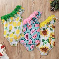 Baby Swimsuit Printed Off Shoulder Swimwear Girls Bath Suit One Piece Swimming Beach Bikini Summer Clothing Watermelon Sunflower Pineapple BT6542