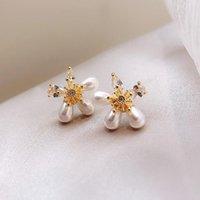 Dangle & Chandelier 2021 Fashion Fine Crystal Pearl Flowers Drop Earrings Contracted Small Women Temperament Joker Jewelry