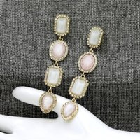 Dangle & Chandelier 9.2CM Length Charming Candy Color Stone Drop Earrings For Women Crystal Rectangle Oval Jewelry Party Gifts