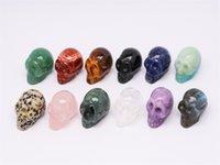 Abay 1PC Natural Crystal Quartz Bijoux minéraux Rose Quartz Crâne Crystal Crystal Sculpture Accueil Décoration Halloween et Diy DecC JLLNMC 898 Q2