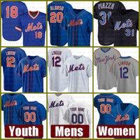 Yeni Mens York Kadınlar Mets Gençlik 12 Francisco Lindor Beyzbol Forması 20 Pete Alonso Özel 48 Jacob Degrom 18 Darryl Çilek 31 Mike Piazza