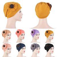 Muslim Stretch Turban Hat Women Floral Beanie Large Flower Headband Solid Color Head Wear Girls Hairbands Hair Accessory Beanie Skull Caps