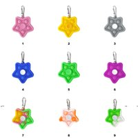 NewSilicone Fidget Toy Star Pendant Desktop Decompression Toys Push Bubble Sensory Novelty Finger Spinners for Adults and Children EWA6233