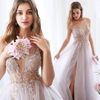 Lilac Sparkly Crystals Beaded Evening Dresses 2021 Sexy Spaghetti Straps Open Back A Line Tulle Prom Party Gowns V Neck Side Slit Women Formal Wear AL9003