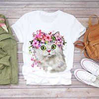 Women's T-Shirt Women 2021 Summer Short Sleeve Ice Floral Flower Lady T-shirts Top T Shirt Ladies Womens Graphic Female Tee