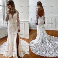 Lace Boho Mermaid Wedding Dresses 2022 Long Sleeve Sexy Front Side Split Open Back Bohemia country Bridal Gowns robe de mariée