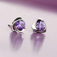 Crystal Cubic Zirconia Love Heart Stud Earrings Wedding Ear Rings Fashion Jewelry Women Gifts Will and Sandy