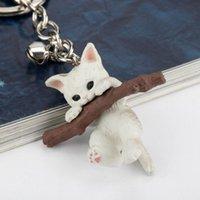 Carino gatto gattino branch keyring divertente resina portachiavi portachiavi auto chiave catene cartone animato bambola animale gioielli per le donne ragazza regali per bambini