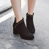Boots ASHIOFU Wholesale Real Pos Ladies Chunky Heels Faux-suede Rivets Party Ankle Booties Evening Daily Wear Fashion