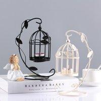 Creative BirdCage Tealight Bougeoir Porte-bougie Romantique Cage d'oiseau d'oiseau suspendu Lanterne à suspendre pour la fête Mariage Décoration Blanc Noir SN5429