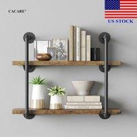 TITULARES DE ALMACENAMIENTO Racks 2 niveles de pared Estantería industrial Hierro Estanterías Montado Bookshelf Black H0013 EE. UU.