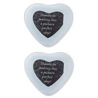 매트 패드 2pcs 유리 po 컵 받침 컵 패드 매트 파티 테이블 장식 반환 결혼식 약혼 선물 (심장 모양)