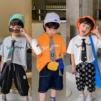 Boys Letter Printed INS Summer Kids Tie Short Sleeve Tees Children Cotton casual tops Boy clothes A6337