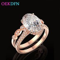 Cluster Rings OEKDFN 1 Set 925 Sterling Silver Ring For Women Oval Created Zircon Gemstone Engagement Wedding Jewelry Gift