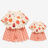 Family Matching Outfits Summer Mother And Daughter T-shirt Outfit Fruit Fashion Mommy Me Clothes Short-sleeved Suit 2pcs set