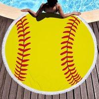 البيسبول softabll كرة السلة كرة القدم الرياضية منشفة الشاطئ مع شرابة جولة مناشف الشاطئ للنساء حمامات الشمس المناشف بطانية hwe6998