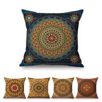"Cushion Decorative Pillow 18"" Mandala Floral Pattern Home Decoration Throw Case Buddhism Islam Geometry Art Gallery Cotton Linen Sofa Cushio"