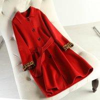 Women's Wool & Blends Double-sided Cashmere Overcoat 2021 Autumn Long Coat Red Coats Belt Beautiful Women Winter Jacket