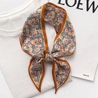 Silk Skinny Scarf for Women Neck Hair Band Design Print Floral Skinny Long Bag Scarves Foulard Soft Neckerchief Ribbon Tie