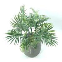 Decorative Flowers & Wreaths 35 Cm 5 Fork Tropical Simulation Palm Tree Artificial Plant Plastic Leaf Home Garden Wedding Decoration