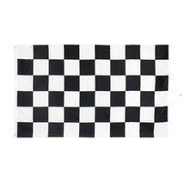 Doğrudan Fabrika Fiyat 100% Polyester 3x5fts 90x150 cm Siyah Beyaz Kare Damalı Yarış Araba Bayrağı Dekorasyon için HWB9308
