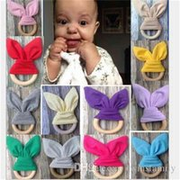 Baby Teeth Training Toys Gifts Baby Teething Ring Rabbit Ear Chew Teether Safety Natural Wood Teether Bow Nursing Holder Bunny Ear DYP455
